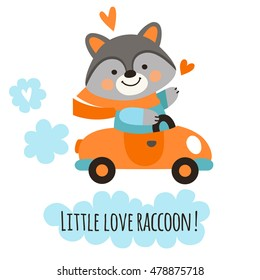Cute raccoon in the funny car. Cute raccoon traveling by car. Children's illustration with a  raccoon.
