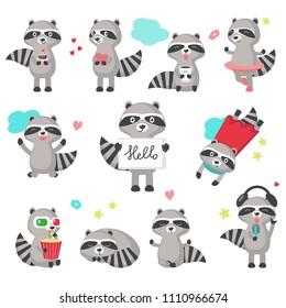 Cute raccoon icon set for greeting card, invitation, poster, sticker, print. Vector isolated illustration of funny raccoons with hearts, cake, coffee, popcorn, 3-d glasses, microphone and headphones.