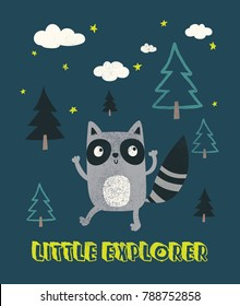 cute raccoon illustration as vector for kids fashion