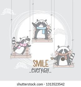 Cute Raccoon on the swing. Raccoon illustration. Raccoon cartoon. animal character vector-vector