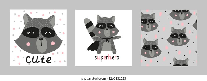 Cute raccoon superhero. Set of cards with raccoon and seamless pattern. For the design of children's clothing, postcards. Hand-drawn.