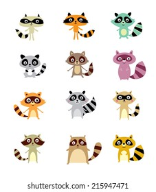 cute raccoon vector