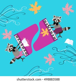 Cute raccoons musicians. Beautiful card with cartoon animal characters playing grand piano and maple leaves.