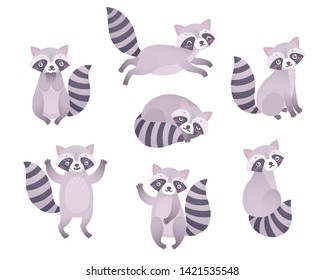 Cute raccoons sleeping, sitting, playing. Funny woodland characters. Vector illustration.