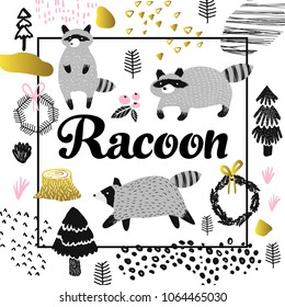 Cute Racoon Hand Drawn Design. Childish Animals Background for Poster, Greeting Card, Decoration, Cover. Vector illustration