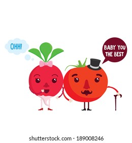 Cute radish and  tomato cartoon characters couple. Cute vegetables with eyes and accessories and speech bobles. Vector illustration.