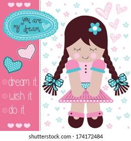 cute rag doll vector illustration
