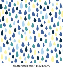 Cute rain drops, water vector seamless pattern background. Childish pattern with drops. Cartoon colorful shapes.