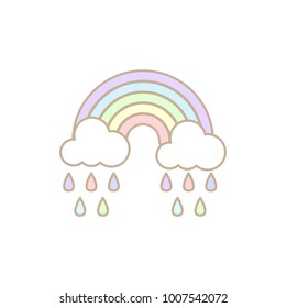 Cute rainbow and cloud with rain isolated on white background in pastel.