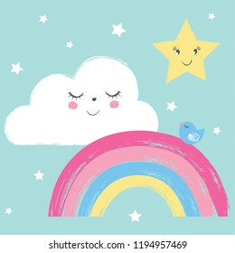 Cute rainbow, cloud, star and little bird vector illustration for kids, prints, textile artwork.
