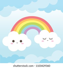 Cute Rainbow and clouds smile face in clear blue sky with colorful and pastel color background vector.
