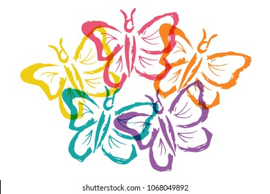 Cute Rainbow Color Set Collection of Butterfly Insect Nature with Wings. Flat Line Icon, Sign, Symbol Isolated Background. Graphic Design Abstract Art, Elements, Vector Illustration EPS10