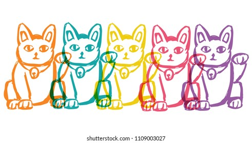 Cute Rainbow Color Set Collection of Japan Lucky Charm Cat. Flat Line Icon, Sign, Symbol Isolated Background. Graphic Design Abstract Art, Elements, Vector Illustration EPS10