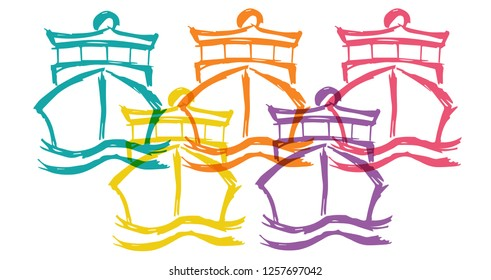 Cute Rainbow Color Set Collection of Marine Ship Boat Transporation. Flat Line Icon, Sign, Symbol Isolated Background. Graphic Design Abstract Art, Elements, Vector Illustration EPS 10