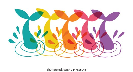 Cute Rainbow Color Set or Collection of Animal Cartoon Whale Tail. Flat Line Icon, Sign, and Symbol on Isolated Background. Vector Illustration.