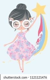 Cute rainbow girl illustration, kids books and textile artworks graphics.