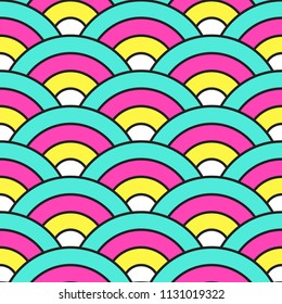 Cute rainbow retro dragon scales seamless pattern