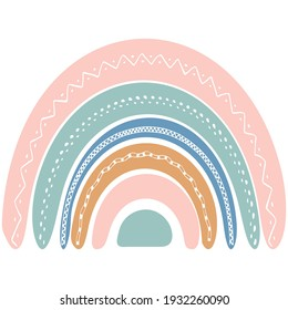 Cute rainbow in scandinavian style. Watercolor effect rainbow isolated on a white background. Pastel colors. Modern art.