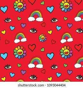Cute Rainbow Seamless Repeatable Pattern Design
