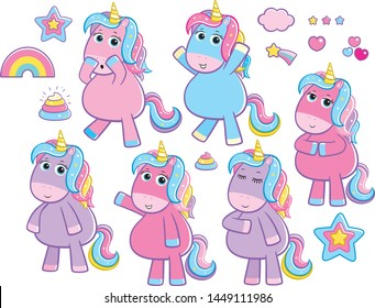 Cute Rainbow Sparkles Unicorns Standing Body Poses
