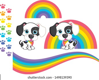 Cute Rainbow Spotty Dog Vectors