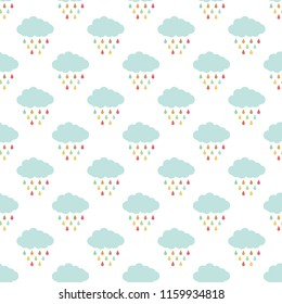 Cute raining clouds seamless pattern with colorful drops on white background. Vector illustration