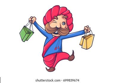 Cute Rajput Man happy. Vector Illustration. Isolated on white background.