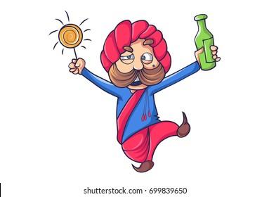 Cute Rajput Man Joyful. Vector Illustration. Isolated on white background.
