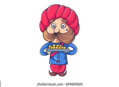 Cute Rajput Man with a plate of sweets. Vector Illustration. Isolated on white background.
