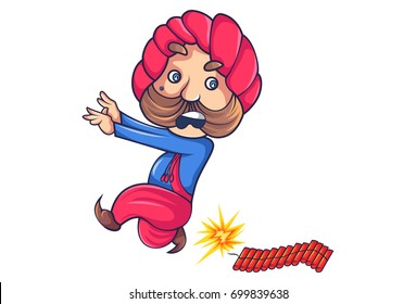 Cute Rajput Man running away from crackers. Vector Illustration. Isolated on white background.