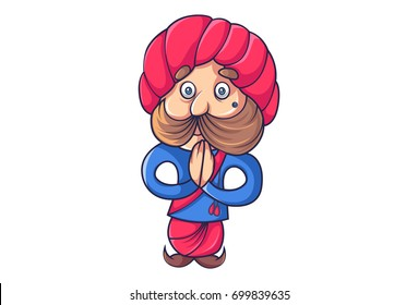 Cute Rajput Man. Vector Illustration. Isolated on white background.