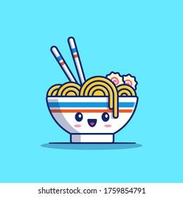 Cute Ramen Noodle Cartoon Vector Icon Illustration. Food Noodle Icon Concept Isolated Premium Vector. Flat Cartoon Style