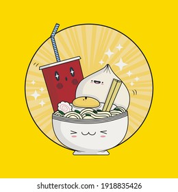 Cute Ramen Noodle Kawaii. Sushi restaurant poster of Japanese food. Vector illustration. - Shutterstock ID 1918835426