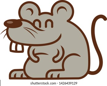Cute Rat with big teeth mascot illustration - vector