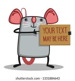 cute rat message card - Vector