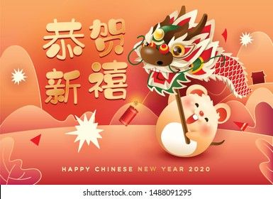 Cute rat performing dragon dance with fire crackers. Happy Chinese New Year 2020.