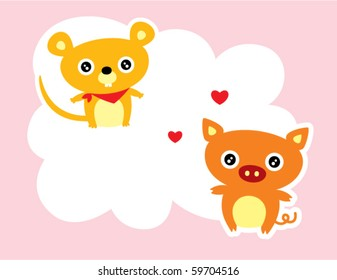 cute rat and pig love