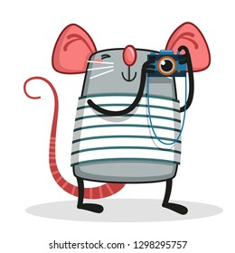 Cute rat taking pictures with a camera