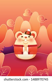 Cute rat in tang suit wishing you a year full of blessings and wealth with red festive background.