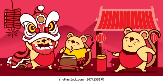 The cute rats playing Chinese New Year Lion Dance and firecracker. Chinese New Year. Year of the rat. - Vector