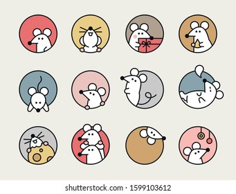 Cute rats are in round holes. White rat, the new year symbol of 2020 Asia. Icon character. flat design style minimal vector illustration.