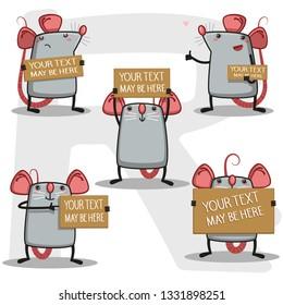 cute rats set  message card - Vector