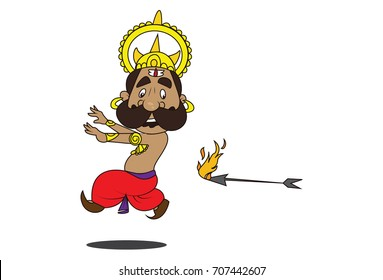 Cute Ravan Character escaping from the fire arrow. Vector Illustration. Isolated on white background.