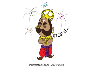 Cute Ravan Character saying Stop It. Vector Illustration. Isolated on white background.