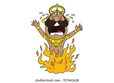 Cute Ravan Character Screaming while burning in Fire. Vector Illustration. Isolated on white background.