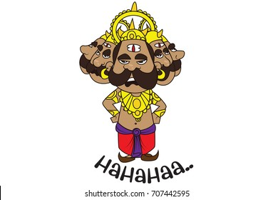 Cute Ravan Character . Vector Illustration. Isolated on white background.