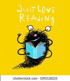 Cute reading book monster mascot for kids. Happy imaginary personage love reading. Vector educational cartoon.