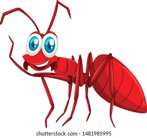 Cute red ant cartoon vector and illustration