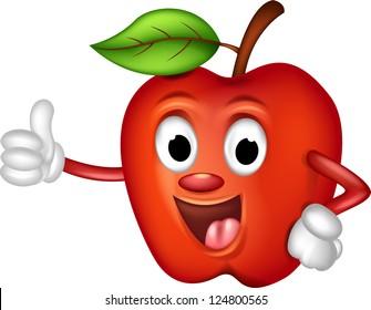 cute red apple cartoon thumbs up