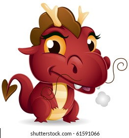 A Cute Red Baby Dragon - Vector